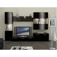 Гостиная черная глянцевая белая подсветка