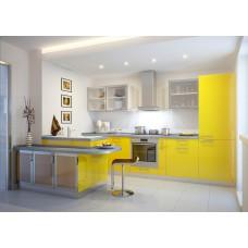 Кухня МДФ крашеный желтая