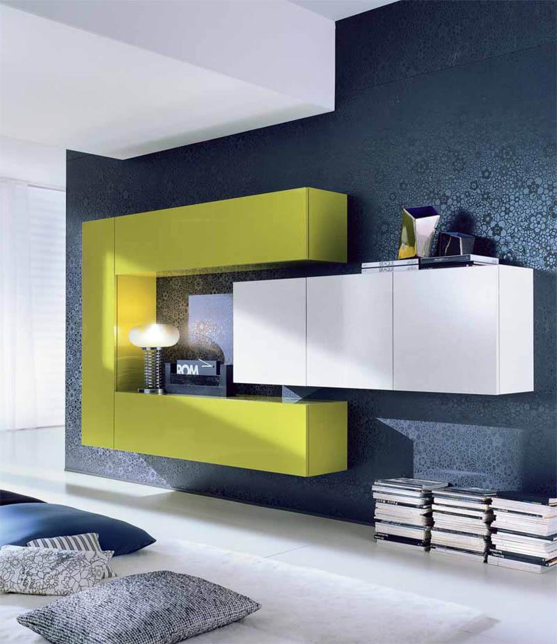 Гостиная желто-белая