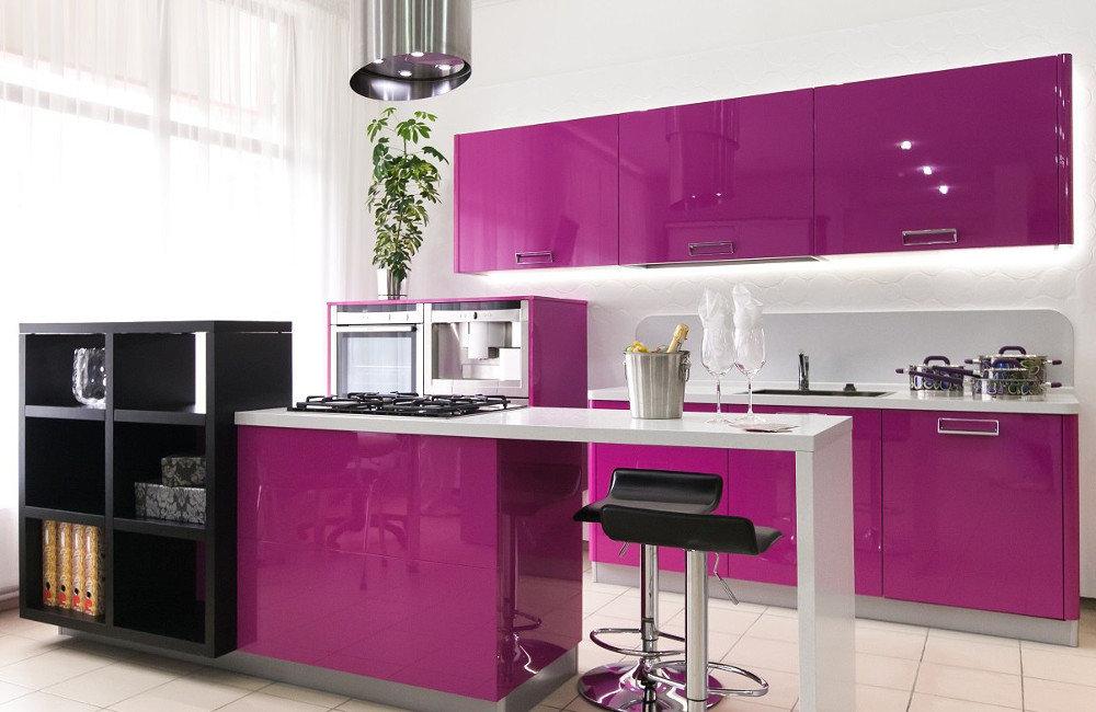 Кухня МДФ крашеный фиолетовая