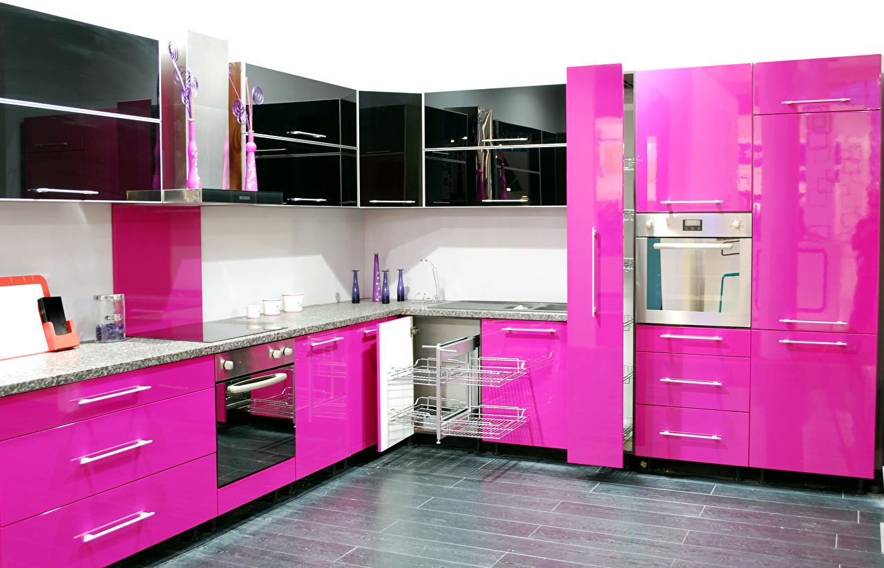 Кухня МДФ крашеный яркая розовая