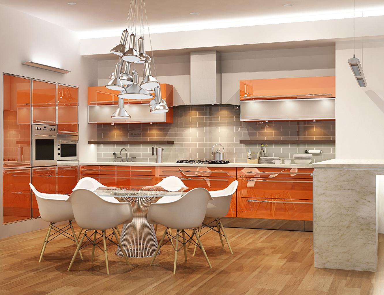 Кухня МДФ крашеный оранжевая