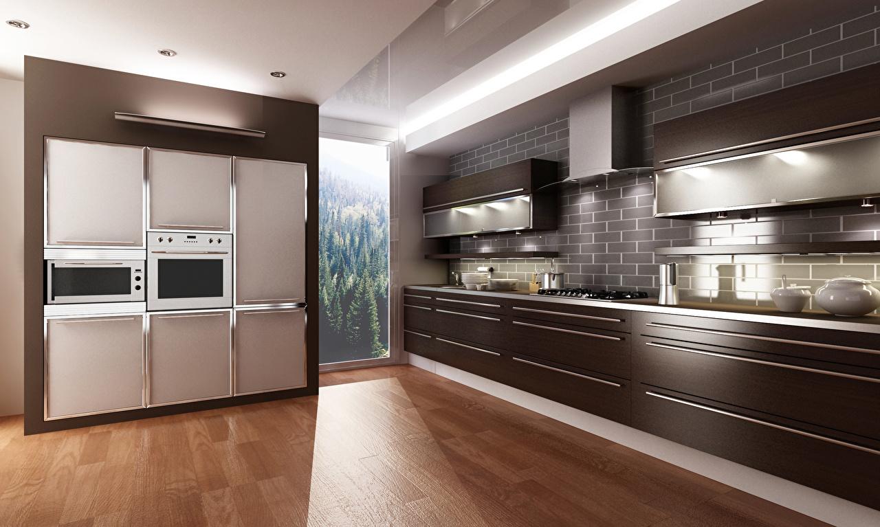 Кухня шпон темное дерево