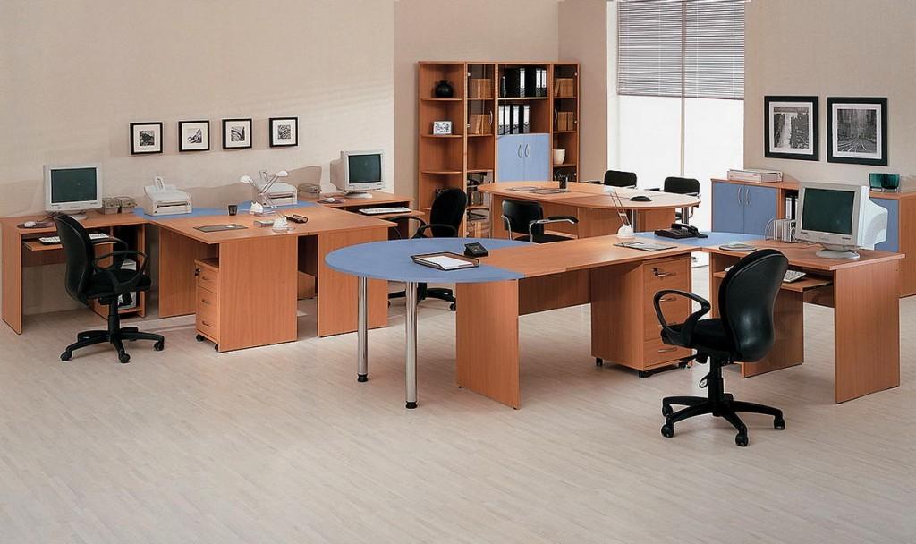 Офисный комплект светлый голубой