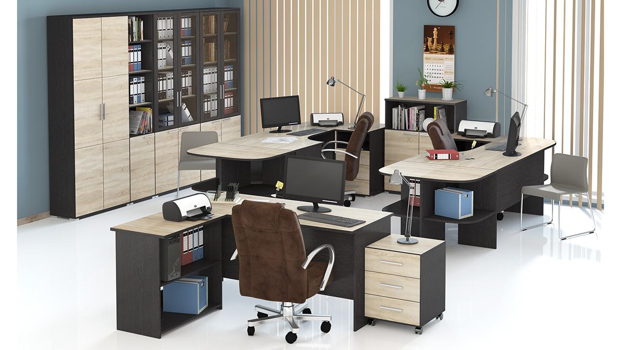 Офисный комплект светлое дерево закругления