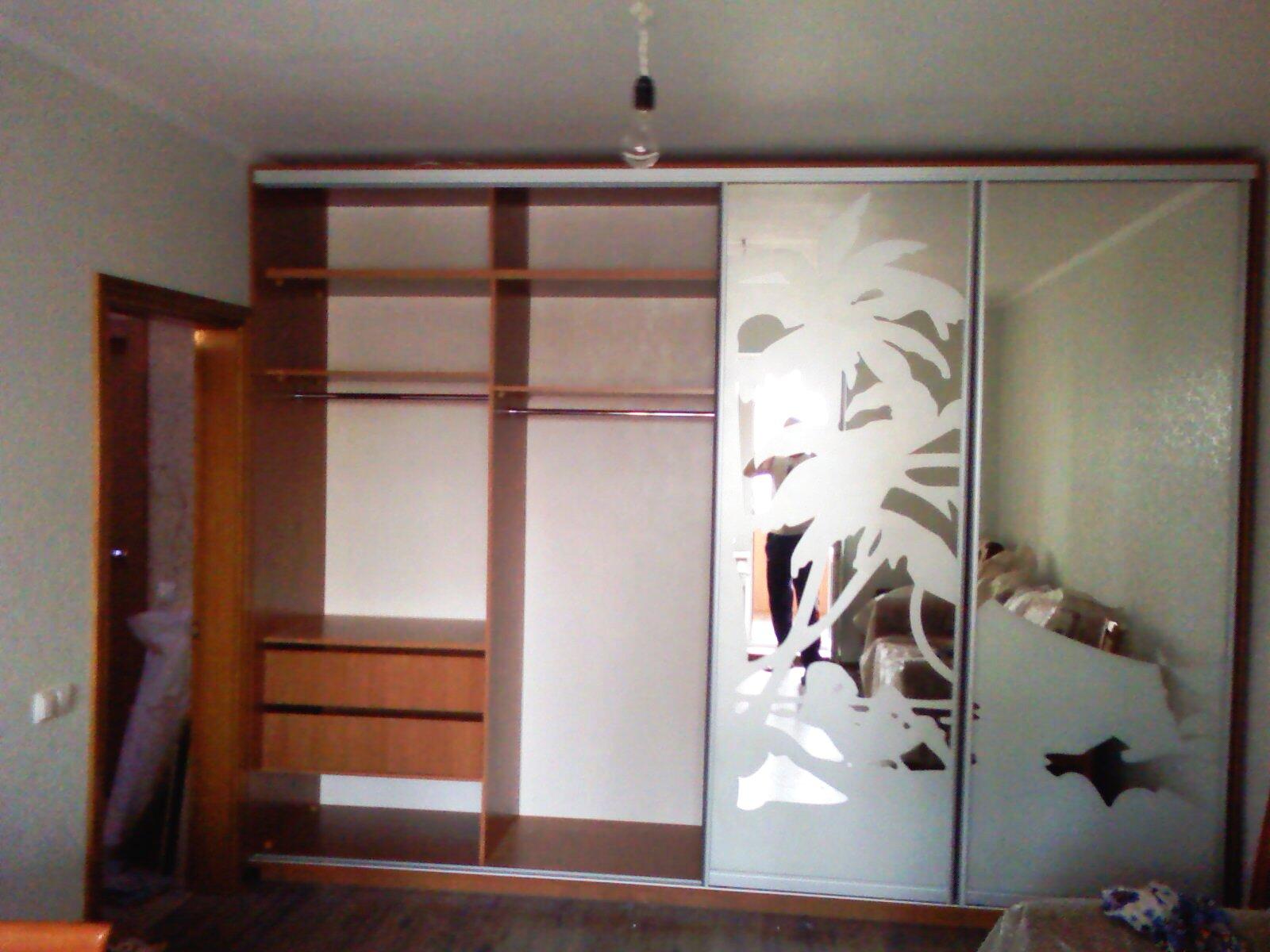 Шкаф-купе с белым рисунком