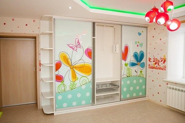 Шкаф-купе детский цветы
